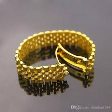yellow white gold bracelet images Wide watch chain imperial crown bracelets bangles for men 316l jpg