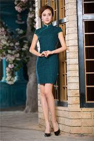online shop dark green chinese women u0027s dress mini short vintage