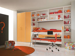 traditional teenage bedroom with brown wooden bunk bed and