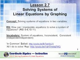solve systems of equations by graphing 11 2 11 linear equations by graphing ppt