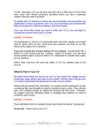 cv writting writing a cv course materials resources uk