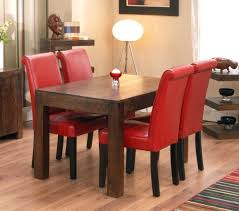 Red Parsons Chairs Red Leather Dining Chairs With Chrome Legs Ebay And Table Room For
