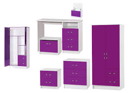 Marina Purple White High Gloss Bedroom Furniture Sets Wardrobe - White high gloss bedroom furniture set