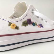 embroidered converse embroidered flowers by pfposey on etsy