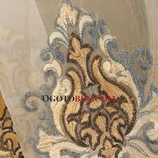 exquisite decorative embroidered pattern in blue and gold color sheer curtain