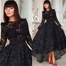 black lace dress 2015 evening gowns black lace a line with sleeve hi lo