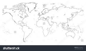 Outline Of World Map by Outline World Map Stock Vector 552238012 Shutterstock