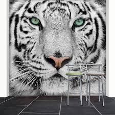 large white tiger removable wall stickers photo realisitc wildlife photo wallpaper mural white tiger 274 x 254 cm wallpaper lion black white new deco