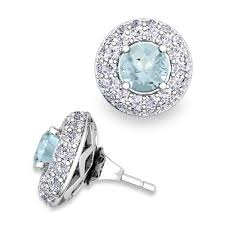 aquamarine stud earrings pave diamond earring jackets and aquamarine studs in 18k gold 5mm