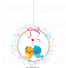 cartoon vector clip art of a love birds in a cage by bnp design