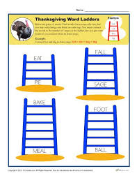thanksgiving activity worksheets word ladders