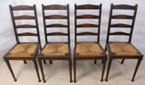 Antique Oak Ladder Back Chairs Set Of Four Oak Ladderback Rush Seat Highback Dining Chairs