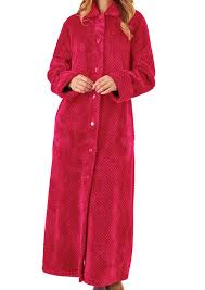 dressing gown womens slenderella button up bath robe soft waffle fleece