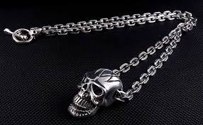 silver skull chain necklace images Sterling silver big head skull biker chain necklace jpg