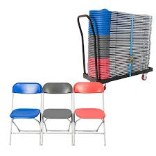 Straight Back Chairs 40 Folding Chairs With Trolley Foldable Exam Chairs Plastic