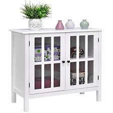 amazon com new white storage buffet cabinet glass door sideboard