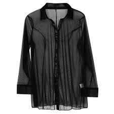 black button blouse womens sleepwear sheer mesh shirt button shirts blouses