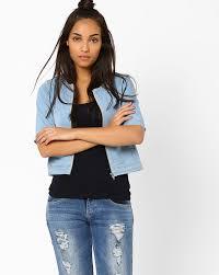 light blue cropped jean jacket buy ajio women blue cropped denim jacket ajio