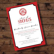 Graduation Invite Cards University Of Houston Victoria Graduation Announcement College