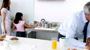 family in a kitchen royalty free video and stock footage