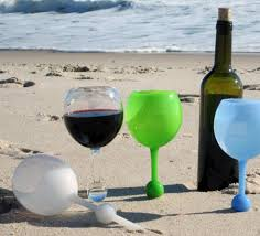 wine glasses that float in water and stand in sand