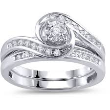 what are bridal set rings 1 3 carat t w diamond bypass ring bridal set in 10kt white gold