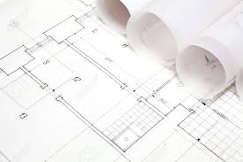 architect plans architectural project architect rolls and plans stock photo