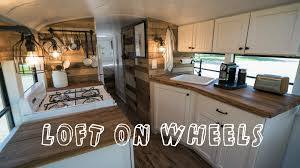 bus turned into loft on wheels tiny house youtube