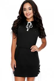 black short sleeve hoodie accent lace up detail casual sweater dress