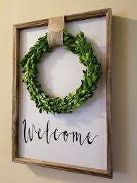 preserved boxwood wreath framed welcome sign with preserved boxwood wreath plush
