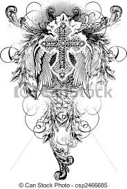 cross wing with scroll ornate clipart vector search illustration