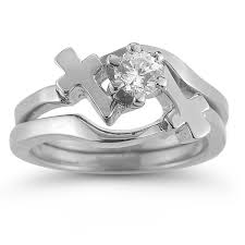 Wedding Set Rings by Diamond Cross Engagement And Wedding Ring Bridal Set In 14k White Gold