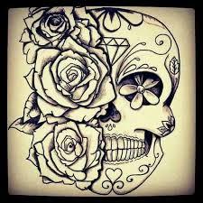 sugar skull with flowers art pinterest sugar skulls