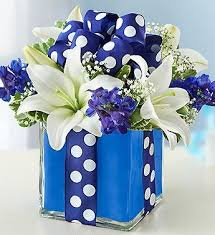 white and blue floral arrangements go that mile for birthday gifts with unique flower