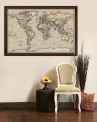 framed maps wood and aluminum frames for wall maps framed antique world map on display in home decor wall