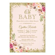 baby shower in oh baby shower blush pink gold glitters floral card zazzle