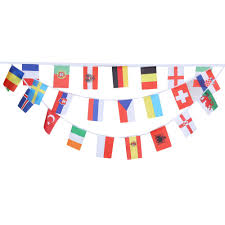 Football Country Flags 24pcs String Hanging Flags Banner For 2016 France Football Euro