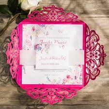 tropical hot pink floral laser cut wedding invitations ewws113 as