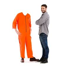 orange jumpsuit size inmate orange jump suit stand in cardboard standup