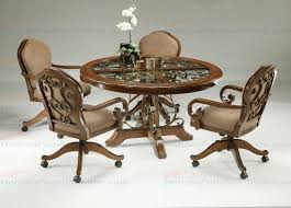 Dining Chairs With Casters Furniture Carmel 5 Piece Round Wood With Glass Insert Dining Set
