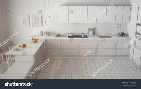 Kitchen Details And Design Unfinished Project Classic Kitchen Wooden Details Stock