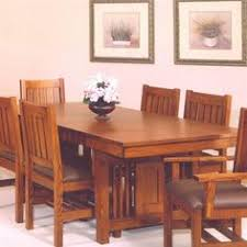 Set Of  New Mission Oak Dining Chairs Home Living Room - Mission dining room table