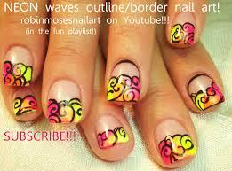 robin moses nail art neon nails neon pink nails outline border