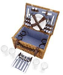 Picnic Basket Set Vonshef 4 Person Wicker Picnic Basket Hamper Set With Flatware