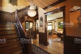 entryway foyer and staircase of restored renovated victorian home