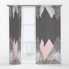 Gray And Pink Curtains Blush Gray Copper Marble Geometric Pattern Window Curtains By