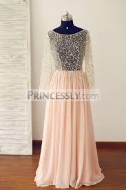sheer blush pink long sleeves tulle chiffon prom dress