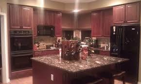 kitchen glamorous dark cherry kitchen cabinets wall color