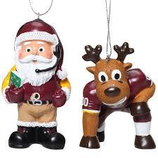 washington redskins reindeer santa 2 pack ornament set
