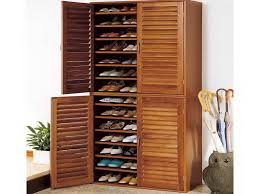 Louvered Cabinet Door Transitional Bedroom Furniture With Wooden Cherry Shoe Storage
